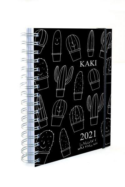 Agenda 2021 SETTIMANALE KAKI copertina nera morbida effetto gomma