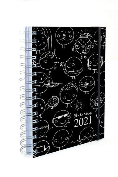 Agenda 2021 GIORNALIERA MARIMINO copertina nera morbida effetto gomma
